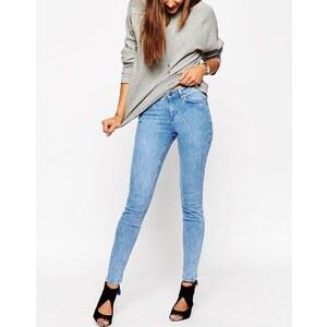 ASOS - Lisbon - Jean skinny taille mi-haute - Délavage clair azur effet tacheté - Bleu