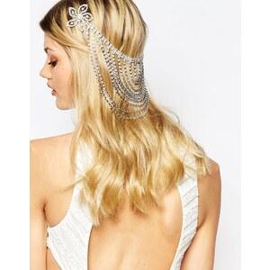 Love Rocks - Barrette à cheveux drapée avec fleurs en strass - Argenté