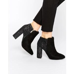 Pull&Bear - Glitzernde Ankle Boots mit Absatz - Schwarz