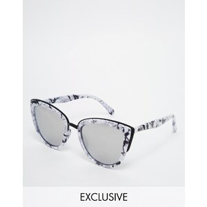 Quay Australia - My Girl - Lunettes de soleil yeux de chat à verres effet miroir et monture effet marbre - Multi