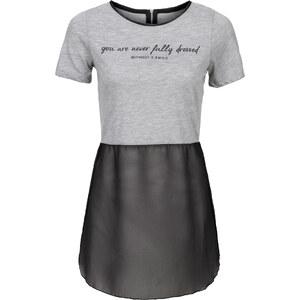 RAINBOW T-shirt avec empiècement en chiffon gris manches courtes femme - bonprix