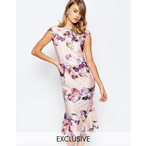 True Violet - Robe fourreau style Bardot à ourlet virevoltant et empiècement fleuri - Multi