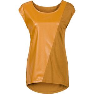 RAINBOW Shirt mit Lederimitat kurzer Arm in braun für Damen von bonprix