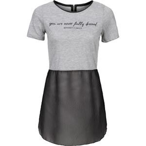 RAINBOW Shirt mit Chiffoneinsatz kurzer Arm in grau für Damen von bonprix