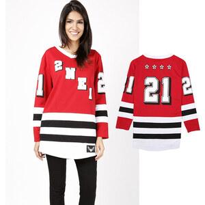 Lesara Langarmshirt im Eishockey-Design - S