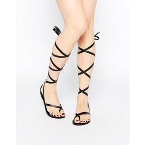 ASOS - FAIRY - Leder-Sandalen mit Beinschnürung - Schwarz