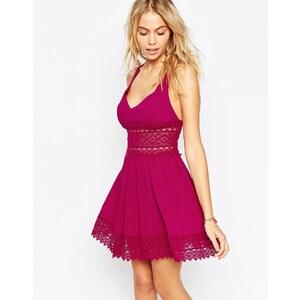 ASOS - Sommerliches Strandkleid mit Spitzenbesatz - Violett