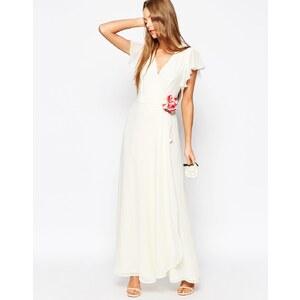 ASOS - WEDDING - Robe longue drapée avec fleur en tissu - Blanc