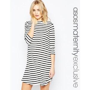 ASOS Maternity - Geripptes Swing-Kleid mit Streifen
