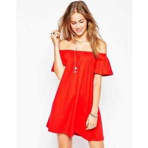 ASOS - Robe courte à épaules dénudées - Rouge