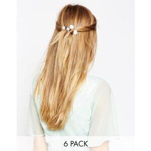 ASOS - 6-er Pack Mini-Haarklemmen mit Papierrosen - Blau