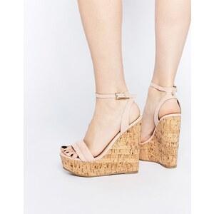 ASOS - TIME FLIES - Zweiteiliger Schuh mit Keilabsatz - Nude