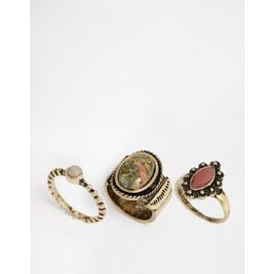 ASOS - Traveller - Ringe mit Steinverzierung, 3er-Pack - Gold
