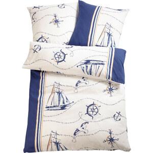bpc living Parure de lit Nautic, flanelle bleu maison - bonprix