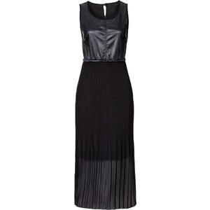 RAINBOW Lederimitatkleid mit Plissée ohne Ärmel in schwarz von bonprix