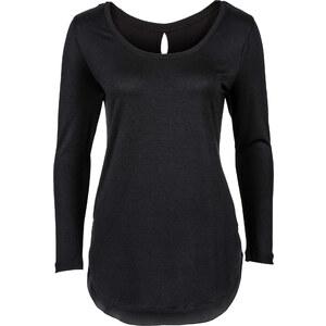 RAINBOW Shirt mit Chiffon-Einsatz langarm in schwarz für Damen von bonprix