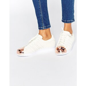 adidas Originals - Superstar - Sneakers mit Zehenkappe aus Roségold-Metall im Stil der 80-er - Gebrochenes Weiß