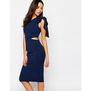 Oh My Love - Mittellanges One-Shoulder-Kleid, figurbetonter Schnitt - Marineblau