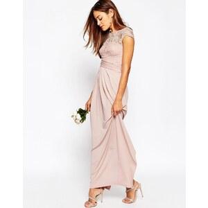 ASOS WEDDING - Maxikleid mit Spitzenoberteil und Faltdetail - Blush