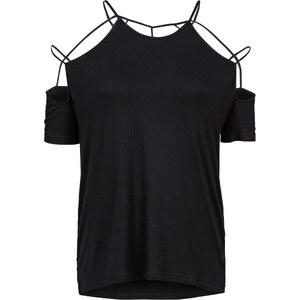 RAINBOW T-shirt avec découpes noir manches courtes femme - bonprix