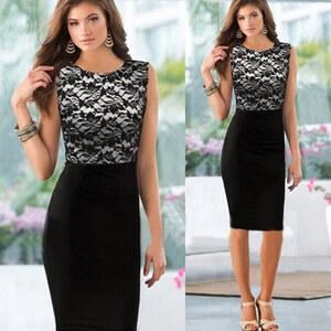 Lesara Cocktail-Kleid mit Spitze - XS