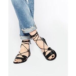 ASOS - FUERTA - Sandales en cuir à lacets - Noir