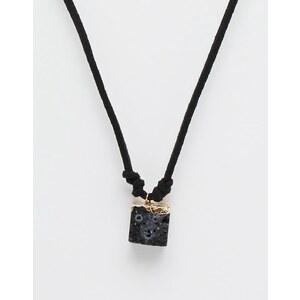 ASOS - Halskette mit schwarzem Halbedelstein - Schwarz