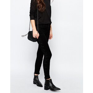Only - Royal - Superenge Jeans mit seitlicher Schnürung - Schwarz
