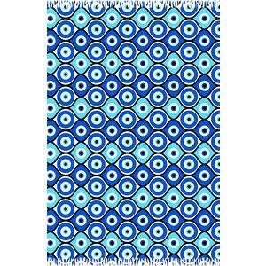 Bali Blue Paréo Bleu Géométrique, Symbole Oeil Grec - Canga Olho Grego