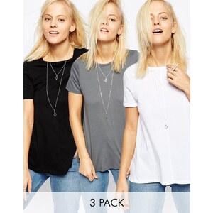 ASOS - Lot de 3 t-shirts coupe trapèze - Noir