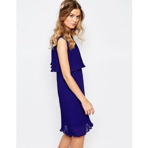 Darccy - Plissiertes Kleid mit Cape - Marineblau