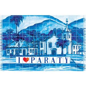 Bali Blue Paréo Bleu, Dessin De La Ville De Paraty - Canga Paraty Azulejo