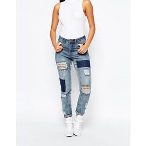 Missguided - Jean slim taille haute effets rapiécé et déchiré - Bleu