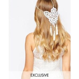 Olivia & The Wolf - Halo - Ketten-Kopfschmuck mit Perlen, Einsatz aus Guipure-Spitze und Quasten - Cremeweiß