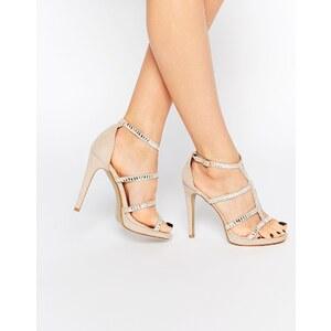 True Decadence Verzierte Riemchen-Sandalen mit hohem Absatz in Nude - Gold
