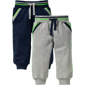 bpc bonprix collection Lot de 2 pantalons sweat bébé en coton bio, T. 56/62-104/110 gris enfant - bonprix