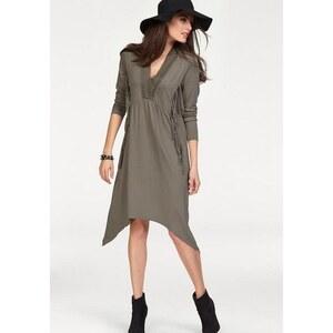 Damen Jerseykleid asymmetrisch mit Fransen und Spitze Aniston grün 34,36,38,40,42,44