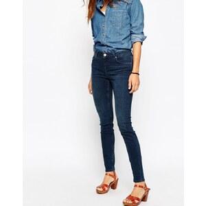 ASOS - Lisbon - Skinny Jeans mit mittelhohem Bund in Freya Dark Stonewash - Dunkelblaue Waschung