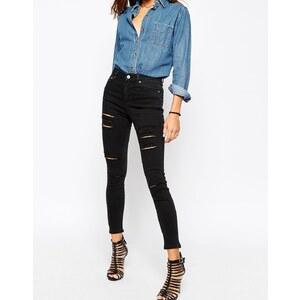 ASOS - Ridley - Skinny-Jeans mit hohem Bund und extremen Rissen in verwaschenem Schwarz - Verwaschenes Schwarz