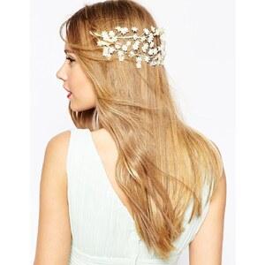 ASOS WEDDING - Couronne de petites fleurs à poser sur l'arrière de la tête - Crème