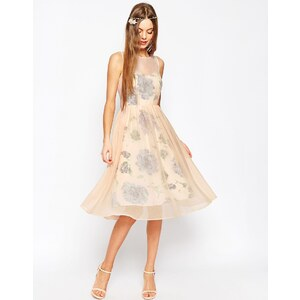 ASOS WEDDING - Ballkleid mit Print und transparenter Lage - Rosa
