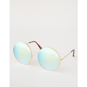 ASOS - Lunettes de soleil oversize rondes en métal avec verres bleus flashy - Doré