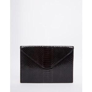 Glamorous - Pochette rigide forme enveloppe aspect serpent - Noir