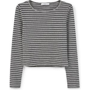 MANGO Kurzes T-Shirt Mit Streifen