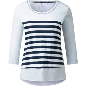 Cecil - T-shirt rayé look superposé - deep bleu