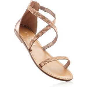 BODYFLIRT Sandales en cuir or chaussures & accessoires - bonprix