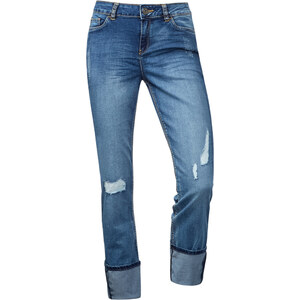 Street One Low Crotch Denim Mika - mid blue washed with destroy, Damen