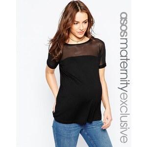 ASOS Maternity - Top à empiècement transparent - Noir