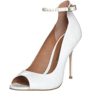 Buffalo High Heel Peeptoe snake leather white