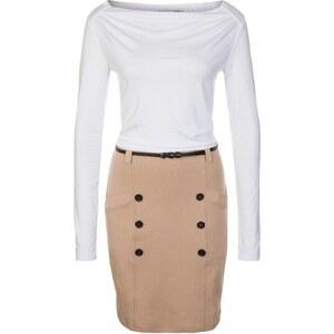 Anna Field Jerseykleid white/beige